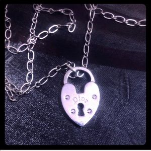 Vintage Christian Dior Heart Lock Pendant Chain